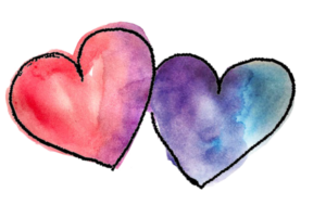 Two hearts watercolor